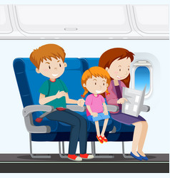 family on the airplane vector image