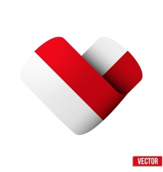 Flag icon in the form of heart I love Monaco vector