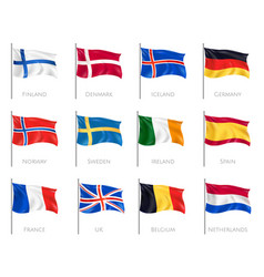 flags realistic set vector image