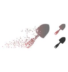 fragmented pixel halftone scoop shovel icon vector image