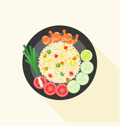 Fried rice with shrimp in thai style vector