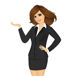 friendly business woman showing something vector image
