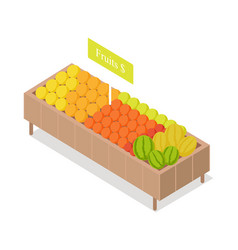 fruits in groceries showcase isometric vector image