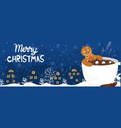 funny cartoon banner gingerbread man in cup vector image