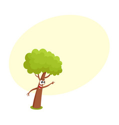 Funny comic tree character showing pointing to vector