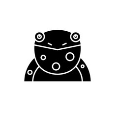 funny frog black icon sign on isolated vector image