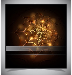 Glowing spider web on a dark background vector