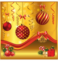 gold-red christmas vector image
