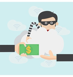 Hacker steal money over the online internet vector image