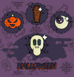 Halloween flat concept icons vector