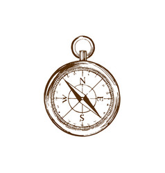 hand drawn of compass in used vector image