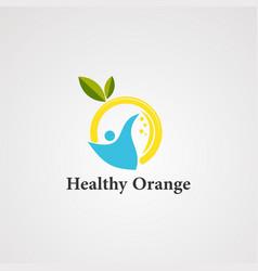 healthy orange logo iconelementand template vector image