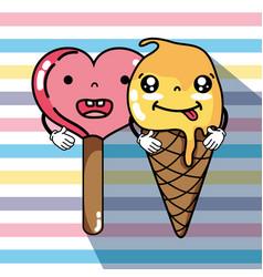 Kawaii ice cream faces expression vector