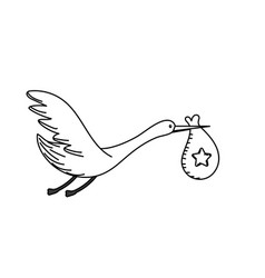 Line stork bird with baby in the bag vector