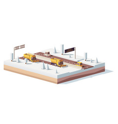 low poly snowplows working on the highway vector image