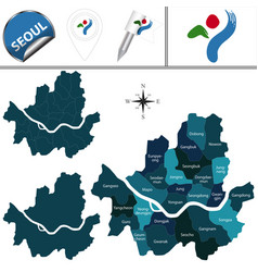 Map of seoul with districts vector