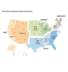 Map united states census bureau designated vector