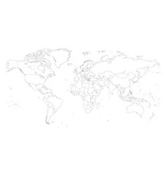 Map world with outline style vector