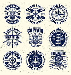 maritime thematic set of nine emblems vector image