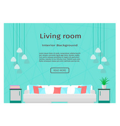 Modern living room interior banner for your web vector