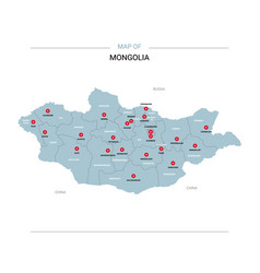 Mongolia map with red pin vector