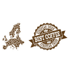 Mosaic map of euro union with coffee beans and vector