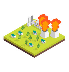 Nature disaster concept 3d isometric view vector