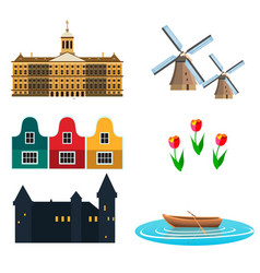 netherland flat icons design travel vector image