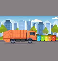 Orange garbage truck urban sanitary vehicle vector