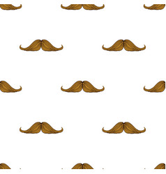 pattern with hipsters mustache on white background vector image