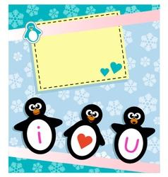 Penguin card vector