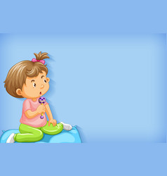 Plain background with little girl playing in bed vector