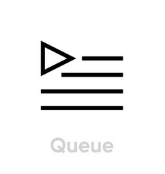 queue music player icon editable outline vector image