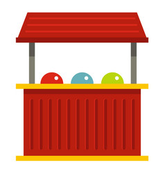Red carnival fair booth icon isolated vector