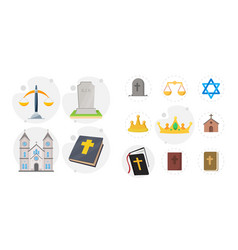 Religion flat icon set with holy bible church vector