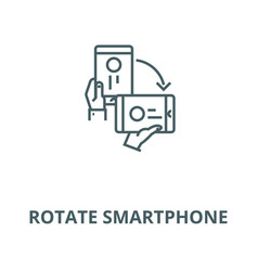 rotate smartphone line icon linear concept vector image