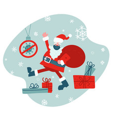 santa in face mask with big red sack flat vector image