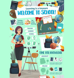 School education and learning in college poster vector