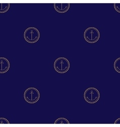 Seamless Pattern with Anchor on a Navy Background vector