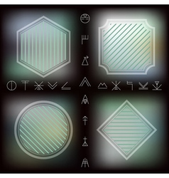 Set of geometric hipster shapes and Linear icon on vector