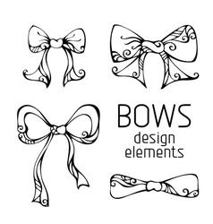 Set of hand-drawn bows vector image