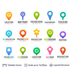 set of map location pointers vector image
