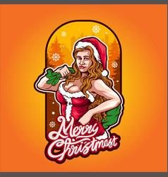 sexy santa claus beautiful girl with bag vector image
