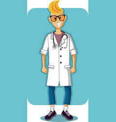 smiling young doctor cartoon vector image