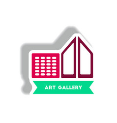 Stylish icon in paper sticker style building art vector