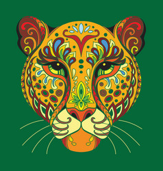 Tangle african leopard colorful isolated vector