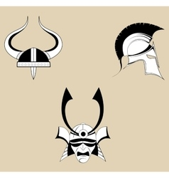 Three helmet icons vector image