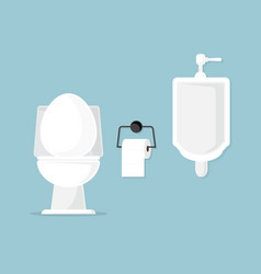 toilet bowl and urinal in bathroom vector image