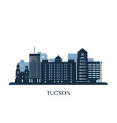 tucson skyline monochrome silhouette vector image