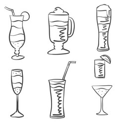 Various drink hand draw doodles vector